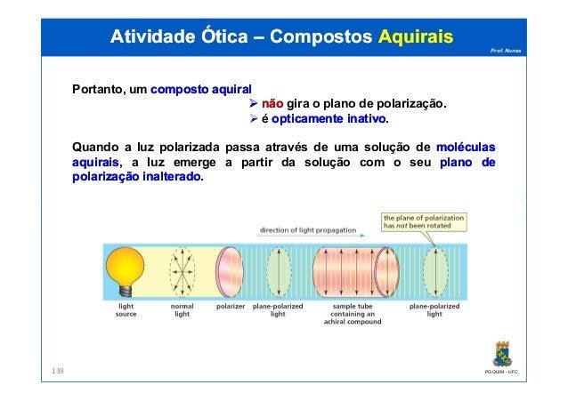 Prof. Nunes Portanto, um compostocomposto aquiralaquiral nãonão gira o plano de polarização. é opticamenteopticamente inat...