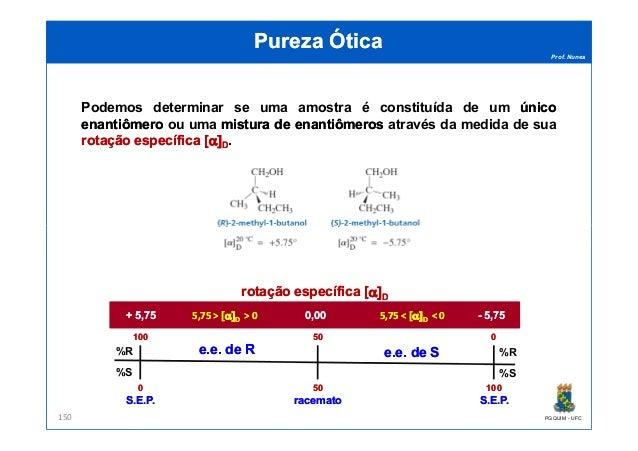 Prof. Nunes Podemos determinar se uma amostra é constituída de um únicoúnico enantiômeroenantiômero ou uma misturamistura ...