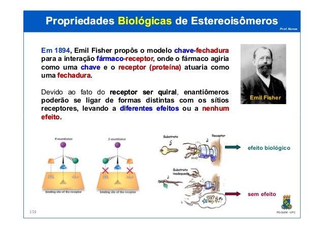 Prof. Nunes Em 1894, Emil Fisher propôs o modelo chavechave-fechadurafechadura para a interação fármacofármaco-receptorrec...