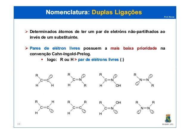 Prof. Nunes Nomenclatura:Nomenclatura: Duplas LigaçõesDuplas Ligações Determinados átomos de ter um par de eletróns não-pa...