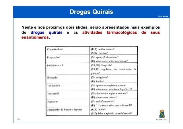 Prof. Nunes DrogasDrogas QuiraisQuirais Neste e nos próximos dois slides, serão apresentados mais exemplos de drogasdrogas...