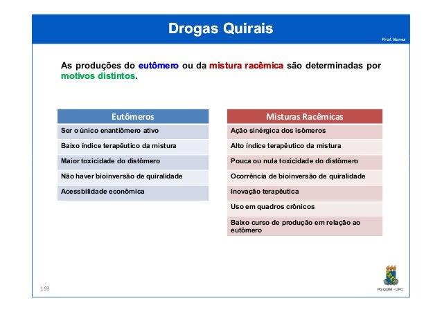 Prof. Nunes DrogasDrogas QuiraisQuirais As produções do eutômeroeutômero ou da misturamistura racêmicaracêmica são determi...
