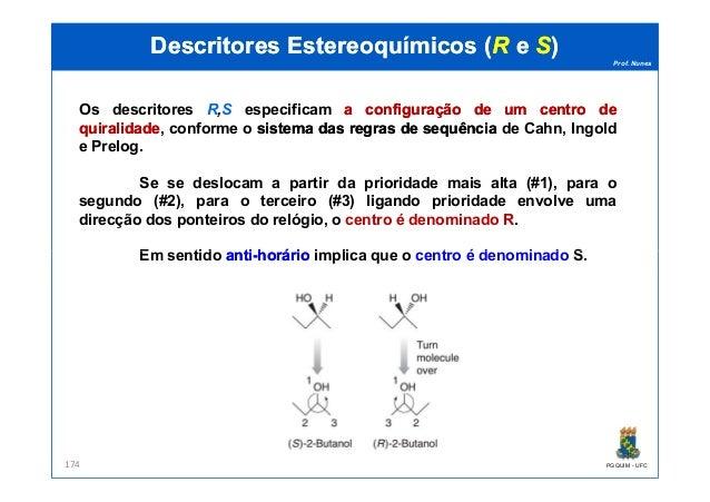 Prof. Nunes DescritoresDescritores EstereoquímicosEstereoquímicos ((RR ee SS)) Os descritores R,S especificam aa configura...