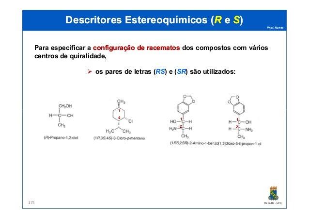 Prof. Nunes DescritoresDescritores EstereoquímicosEstereoquímicos ((RR ee SS)) Para especificar a configuraçãoconfiguração...