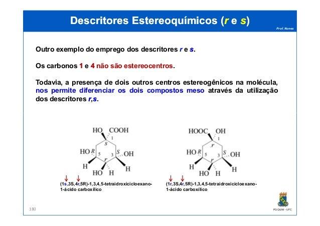 Prof. Nunes DescritoresDescritores EstereoquímicosEstereoquímicos ((rr ee ss)) Outro exemplo do emprego dos descritores r ...