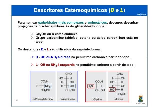 Prof. Nunes DescritoresDescritores EstereoquímicosEstereoquímicos ((DD ee LL)) Para nomear carboidratoscarboidratos maisma...