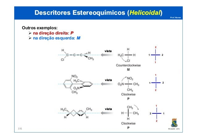 Prof. Nunes Outros exemplos: na direção direita: PP na direção esquerda: MM DescritoresDescritores EstereoquímicosEstereoq...