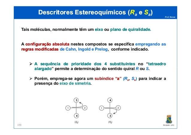 Prof. Nunes DescritoresDescritores EstereoquímicosEstereoquímicos ((RRaa ee SSaa)) Tais moléculas, normalmente têm um eixo...