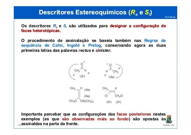Prof. Nunes DescritoresDescritores EstereoquímicosEstereoquímicos ((RRee ee SSii)) Os descritores Re e Si são utilizados p...