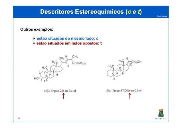 Prof. Nunes DescritoresDescritores EstereoquímicosEstereoquímicos ((cc ee tt)) Outros exemplos: estão situados do mesmo la...
