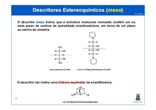 Prof. Nunes DescritoresDescritores EstereoquímicosEstereoquímicos ((mesomeso)) O descritor mesomeso indica que a estrutura...
