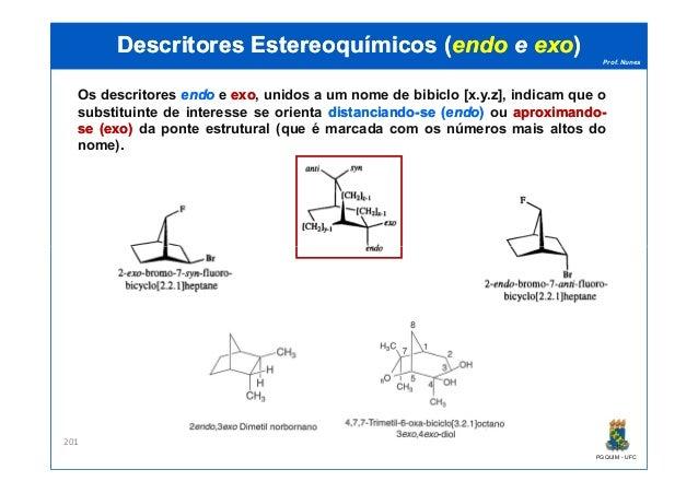 Prof. Nunes DescritoresDescritores EstereoquímicosEstereoquímicos ((endoendo ee exoexo)) Os descritores endoendo e exoexo,...