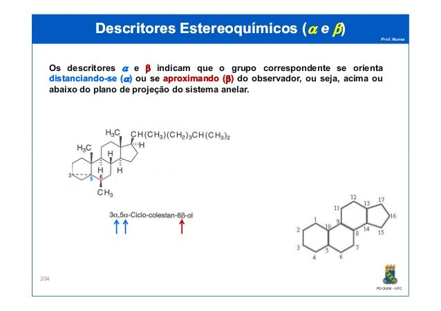 Prof. Nunes DescritoresDescritores EstereoquímicosEstereoquímicos ((αα ee ββ)) Os descritores αα e ββ indicam que o grupo ...