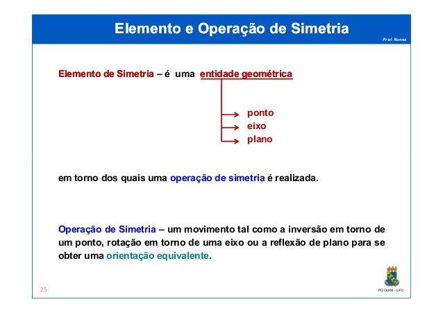 Prof. Nunes Elemento e Operação de SimetriaElemento e Operação de Simetria ElementoElemento dede SimetriaSimetria – é uma ...