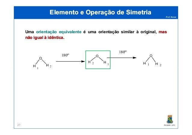 Prof. Nunes Elemento e Operação de SimetriaElemento e Operação de Simetria Uma orientação equivalente é uma orientação sim...