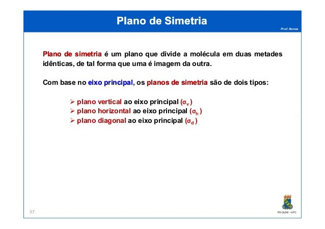 Prof. Nunes Plano de SimetriaPlano de Simetria PlanoPlano dede simetriasimetria é um plano que divide a molécula em duas m...
