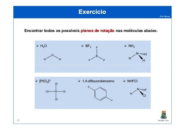 Prof. Nunes ExercícioExercício Encontrar todos os possíveis planos de rotaçãoplanos de rotação nas moléculas abaixo. PGQUI...