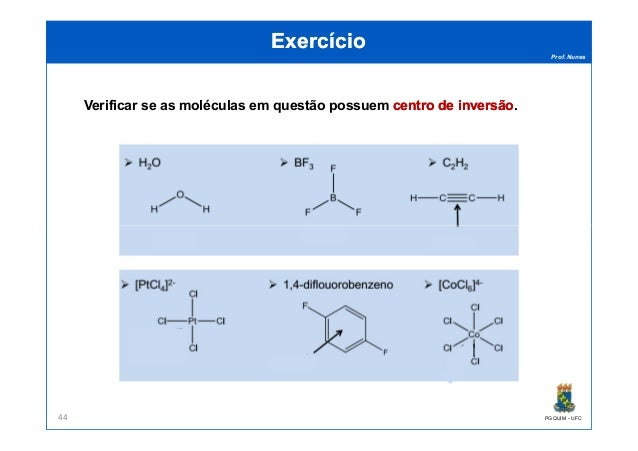 Prof. Nunes ExercícioExercício Verificar se as moléculas em questão possuem centro de inversãocentro de inversão. PGQUIM -...