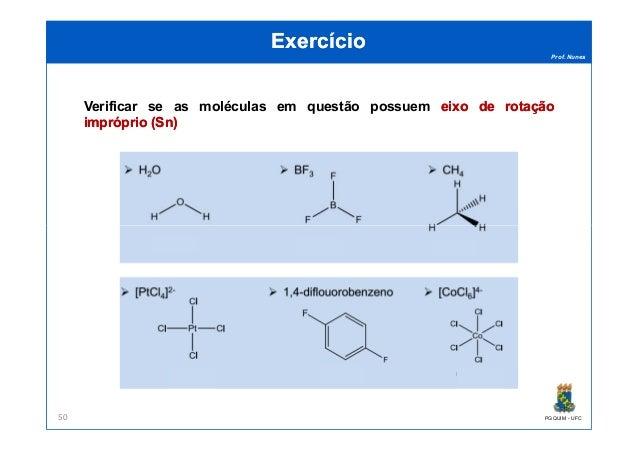 Prof. Nunes ExercícioExercício Verificar se as moléculas em questão possuem eixoeixo dede rotaçãorotação impróprioimprópri...