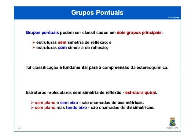 Prof. Nunes Grupos PontuaisGrupos Pontuais GruposGrupos pontuaispontuais podem ser classificados em doisdois gruposgrupos ...