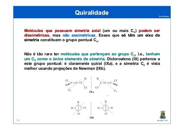 Prof. Nunes MoléculasMoléculas queque possuempossuem simetriasimetria axialaxial (um ou mais Cn) podempodem serser dissimé...