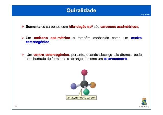 Prof. Nunes QuiralidadeQuiralidade SomenteSomente os carbonos com hibridaçãohibridação spsp33 são carbonoscarbonos assimét...