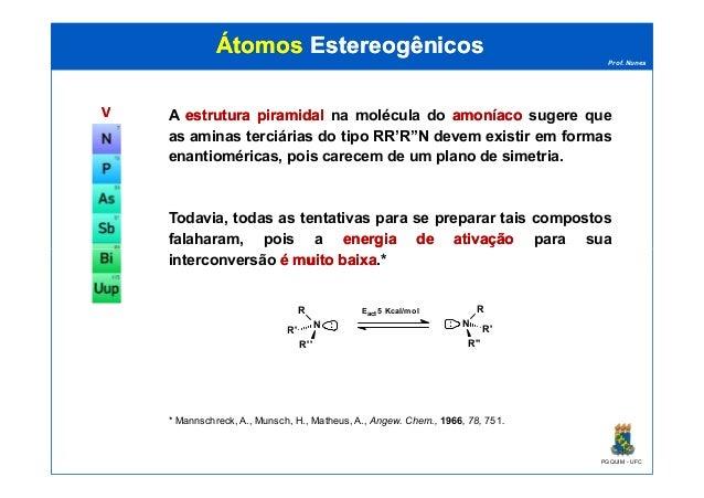Prof. Nunes ÁtomosÁtomos EstereogênicosEstereogênicos VV A estruturaestrutura piramidalpiramidal na molécula do amoníacoam...