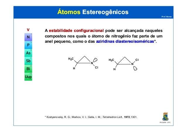Prof. Nunes ÁtomosÁtomos EstereogênicosEstereogênicos VV A estabilidadeestabilidade configuracionalconfiguracional pode se...