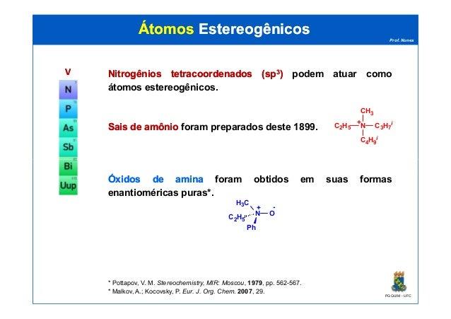 Prof. Nunes ÁtomosÁtomos EstereogênicosEstereogênicos VV NitrogêniosNitrogênios tetracoordenadostetracoordenados (sp(sp33)...