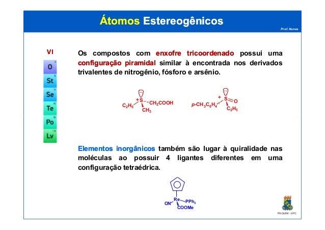 Prof. Nunes ÁtomosÁtomos EstereogênicosEstereogênicos VIVI Os compostos com enxofreenxofre tricoordenadotricoordenado poss...