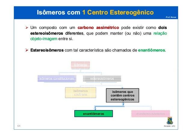 Prof. Nunes Isômeros comIsômeros com 1 Centro1 Centro EstereogênicoEstereogênico Um composto com um carbonocarbono assimét...
