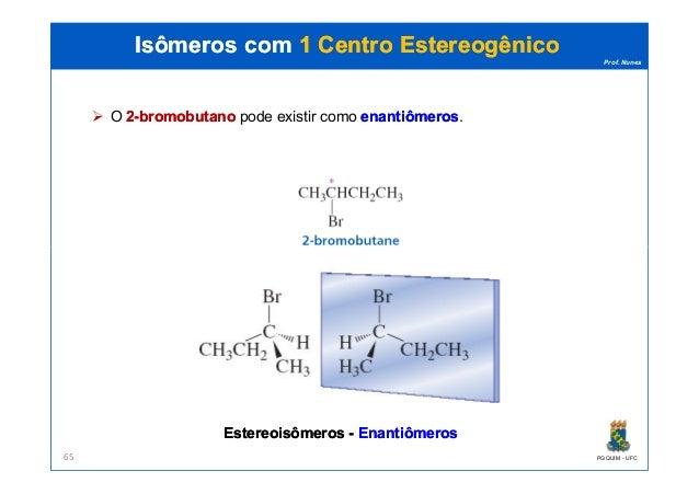 Prof. Nunes O 22--bromobutanobromobutano pode existir como enantiômerosenantiômeros. Isômeros comIsômeros com 1 Centro1 Ce...