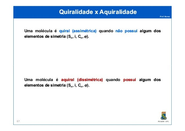 Prof. Nunes QuiralidadeQuiralidade xx AquiralidadeAquiralidade Uma molécula é quiralquiral ((assimétricaassimétrica)) quan...