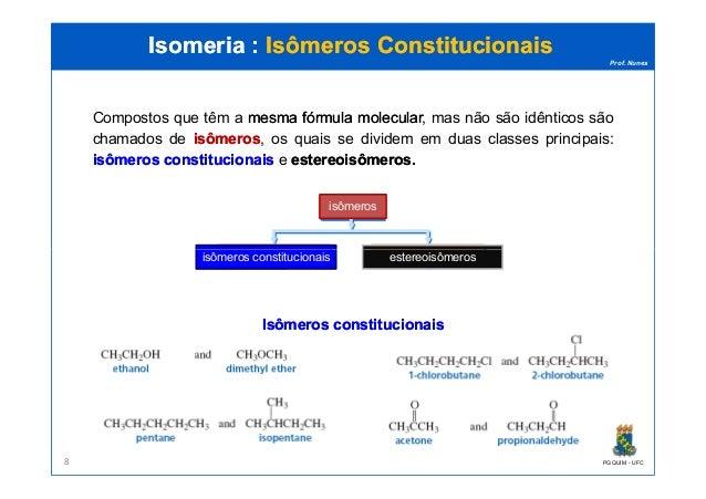 Prof. Nunes Isomeria :Isomeria : Isômeros ConstitucionaisIsômeros Constitucionais isômeros Compostos que têm a mesmamesma ...
