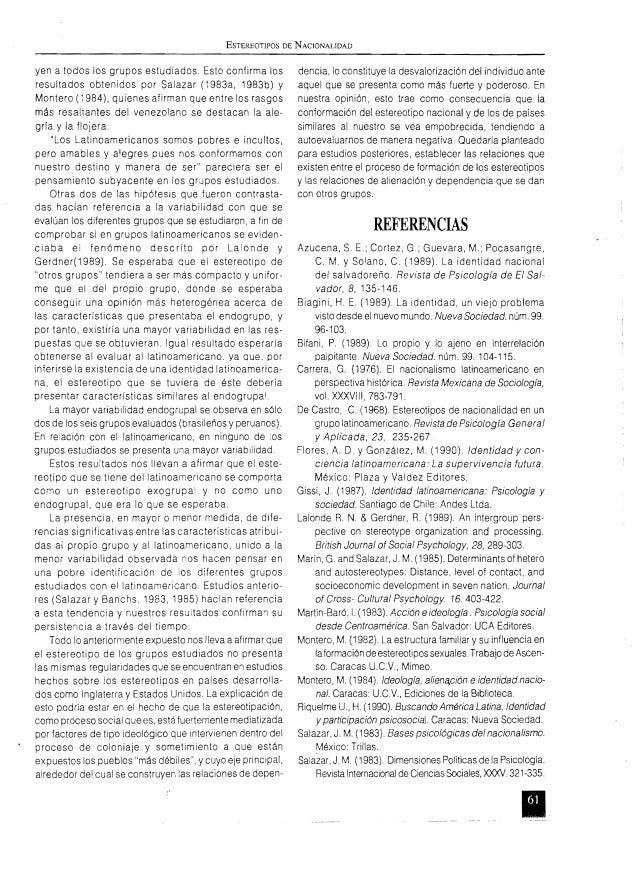 ESTEREOTIPOS DE NACIONALIDAD yen a todos los grupos estudiados. Esto confirma los resultados obtenidos por Salazar (1983a,...