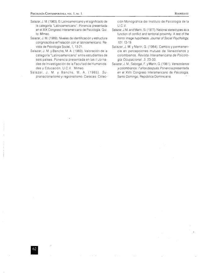 PSICOLOGIA CONTEMPORANEA. VOL 1, NO. l. RODRíGUEZ Salazar, J. M. (1983). El Latinoamericano y el significado de la categor...