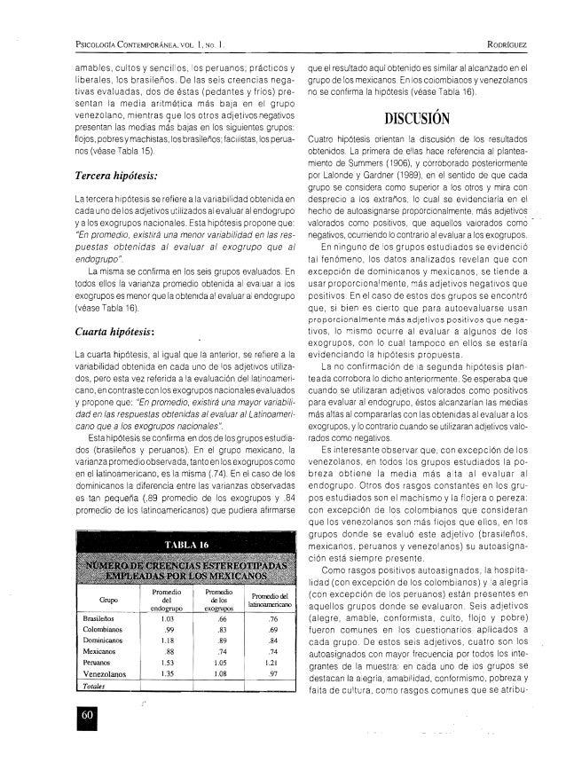 PSICOLOGíA CONTEMPORÁNEA, VOL. 1, :-.lo. l. RODRIGUEZ amables, cultos y sencil'os, 'os peruanos; prácticos y liberales, lo...