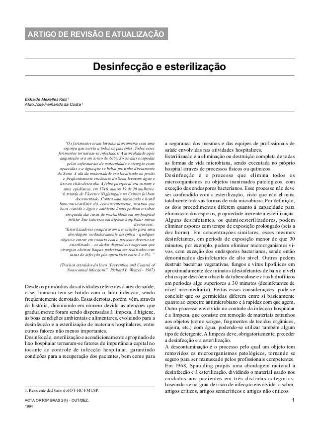 ACTA ORTOP BRAS 2(4) - OUT/DEZ, 1994 Desinfecção e esterilização 1 ARTIGO DE REVISÃO E ATUALIZAÇÃO Desinfecção e esteriliz...