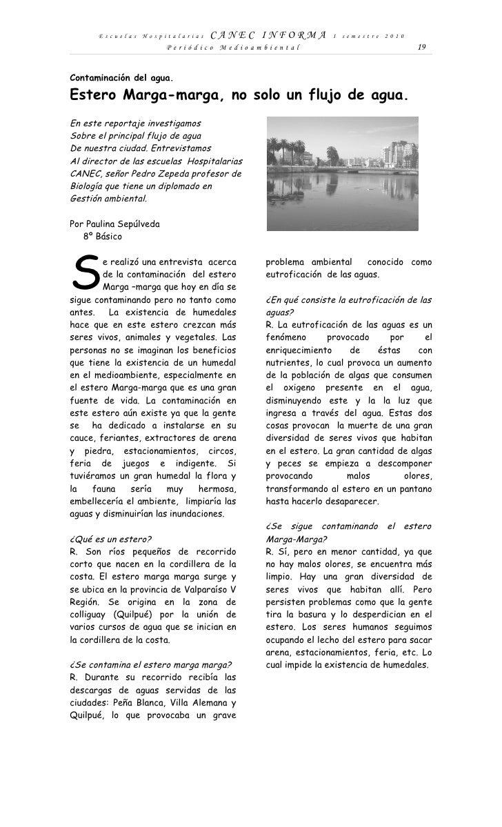 Escuelas Hospitalarias     CANEC INFORMA              I semestre 2010                         Periódico Medioambiental    ...