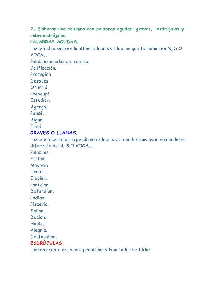 2. Elaborar una columna con palabras agudas, graves,esdrújulas y sobreesdrújulas.<br />PALABRAS AGUDAS.<br />Tienen el a...
