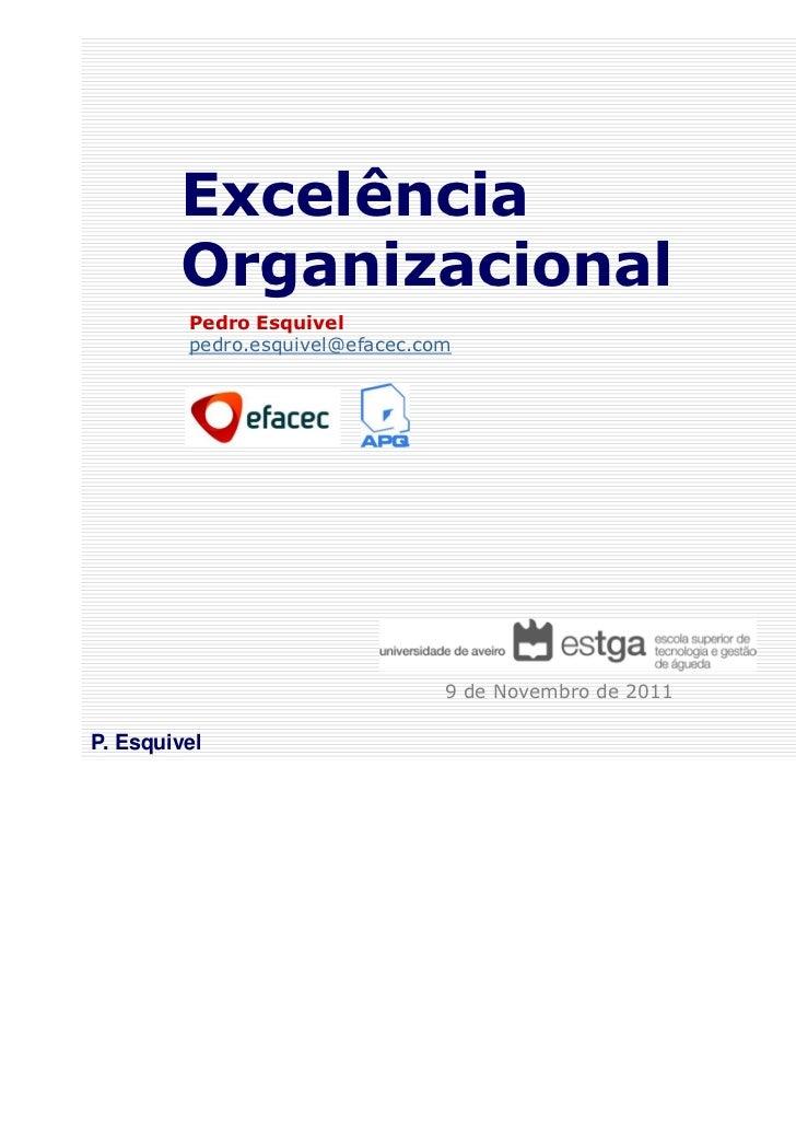 Excelência        Organizacional         Pedro Esquivel         pedro.esquivel@efacec.com                                 ...