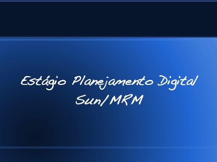 Estágio Planejamento Digital         Sun/MRM