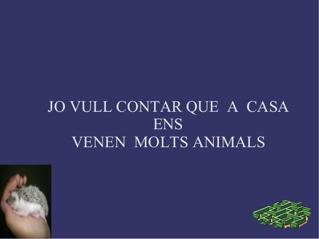 JO VULL CONTAR QUE A CASAENSVENEN MOLTS ANIMALS