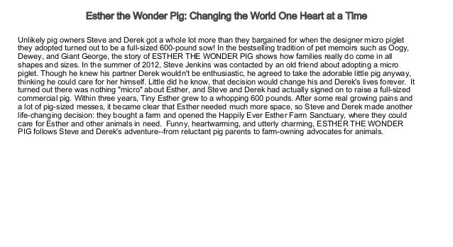 Esther The Wonder Pig Changing The World One Heart At A Time Free Aud