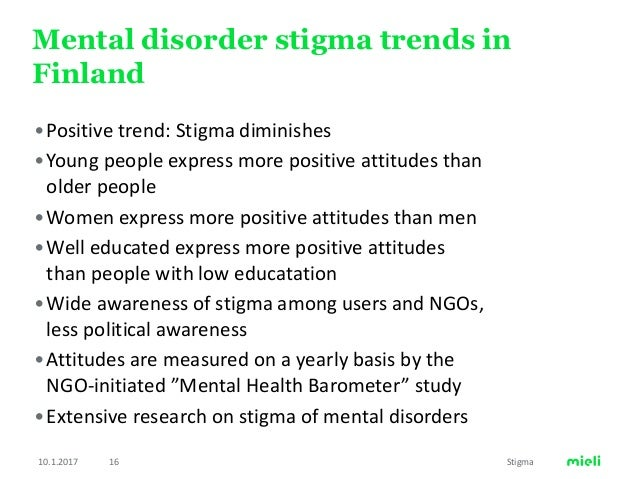 Stigma Of Mental Disorders And Young People