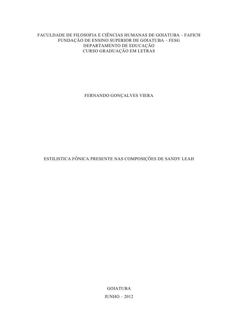 FACULDADE DE FILOSOFIA E CIÊNCIAS HUMANAS DE GOIATUBA – FAFICH       FUNDAÇÃO DE ENSINO SUPERIOR DE GOIATUBA – FESG       ...