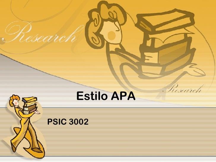 Estilo APA PSIC 3002
