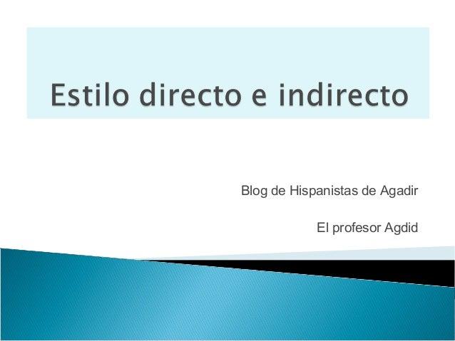 Blog de Hispanistas de Agadir            El profesor Agdid