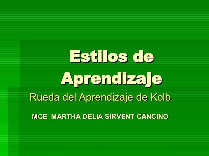 Estilos de Aprendizaje Rueda del Aprendizaje de Kolb MCE  MARTHA DELIA SIRVENT CANCINO