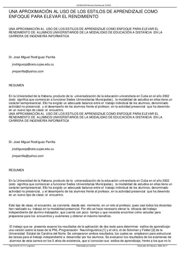 COGNICION Revista Científica de FLEAD   .   UNA APROXIMACIÓN AL USO DE LOS ESTILOS DE APRENDIZAJE COMO ENFOQUE PARA ELEVAR...
